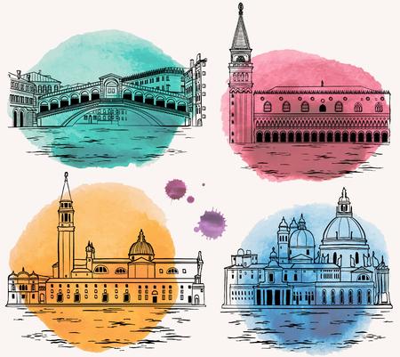 Set di punti di riferimento e attrazioni turistiche di Venezia.