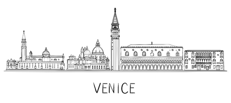 Venice architecture skyline illustration. Black and white Vettoriali