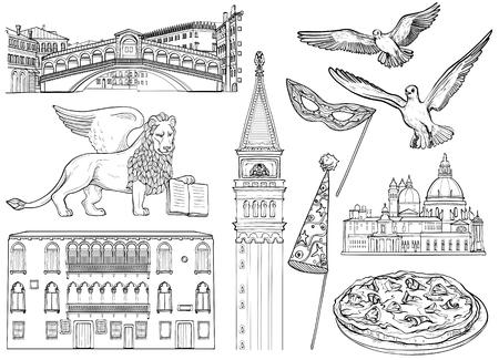 Set di schizzo di Venezia. Illustrazione vettoriale. Famosi monumenti di Venezia Vettoriali