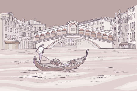 Venetian gondola with gondolier near Realto bridge.