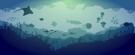 Underwater reef wildlife on blue sea background