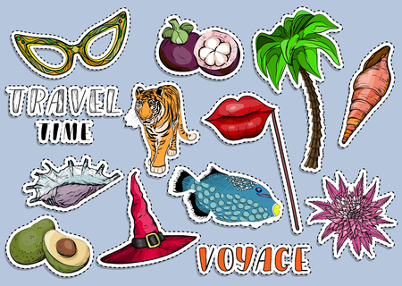 Colorful sticker set. Traveling time and summer vocation concep