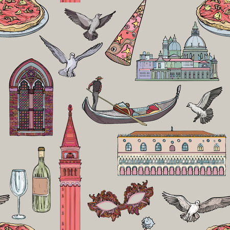 Seamless pattern with Venice set and tourist attractions