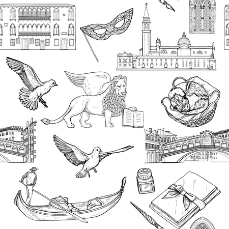 Seamless pattern with Venice landmarks and tourist attractions set. Black and white
