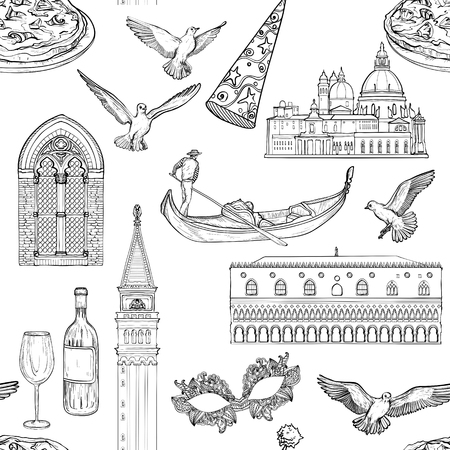Seamless pattern with Venice landmarks, Black and white tourist attractions background.