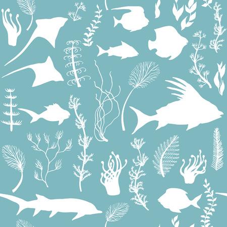 Seamless pattern with fish and seaweed Silhouettes, vector illustration Illusztráció