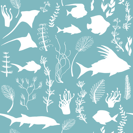 Seamless pattern with fish and seaweed Silhouettes, vector illustration Illustration