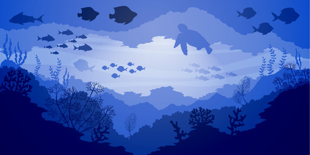 Underwater Coral reef life, blue sea background, vector illustration