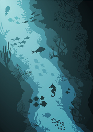 Silhouette of Coral reef and Underwater sea vector illustration Illustration