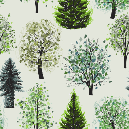 Seamless pattern with Deciduous and coniferous green trees set. Vector illustration.