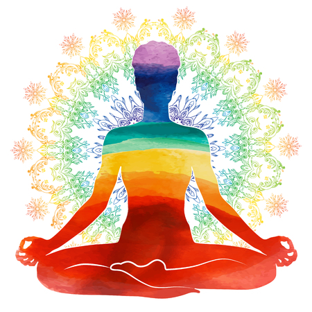 Yoga rainbow  Silhouette Stock Photo