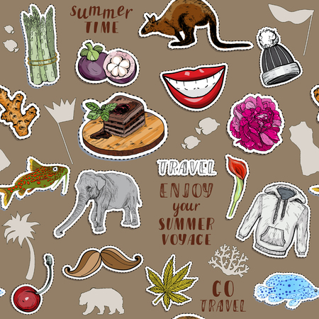 Seamless patter with colorful stickers set. Exotic animals, tasty food and summer travel concept. Vector illustration