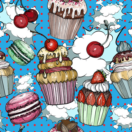 Seamless pattern with Cakes and cupcakes baked chocolate dessert, bakery colorful pop art, vector illustration Illustration