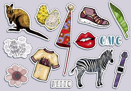 Fashion summer travel colorful items sticker set. Vector illustration Illusztráció