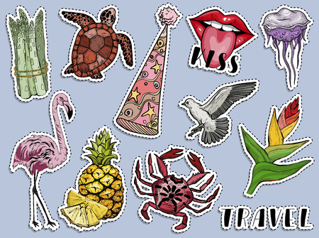 Colorful summer exotic sticker set. Paradise animals and plants. Vector illustration
