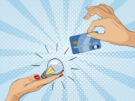 Money for idea. One hand holding light bulb and other hand offers credit card, Paying for innovation and creativity. Vector illustration