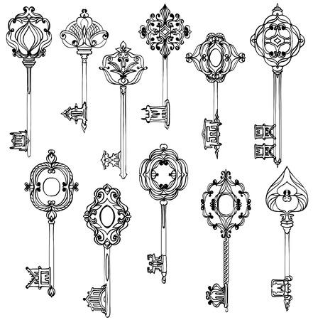 Set of beautiful vintage keys. Black and white. Vector illustration Illusztráció