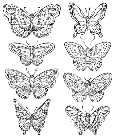 Vector set of various forms butterflies. Black and white