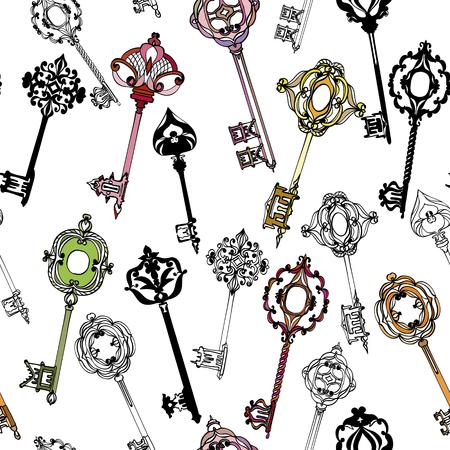 Seamless pattern with beautiful, colorful vintage keys. Vector illustration Illustration