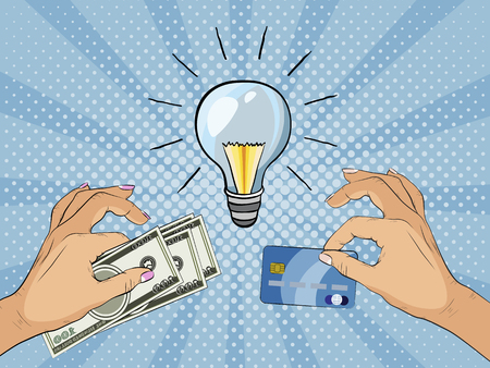 Money for idea. Hands holding cash and credit card and offer it for idea. Paying for innovation and creativity. Vector illustration