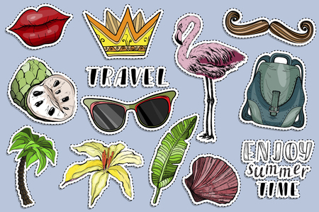 Colorful stickers set. Summer travel concept. Exotic summer holiday. Vector illustration Ilustracja