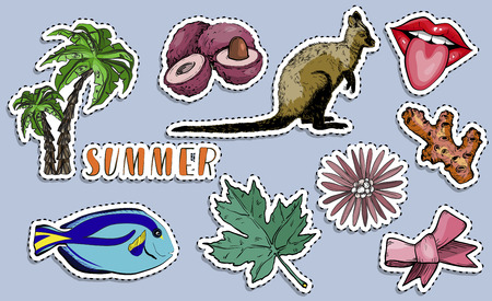 Colorful exotic stickers set. Paradise summer holiday concept. Vector illustration
