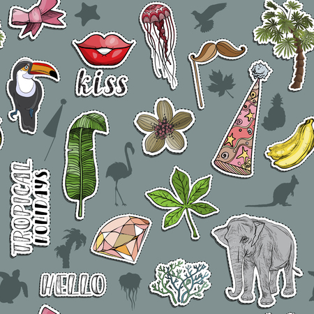 Seamless pattern with Colorful exotic stickers. Various tropical objects. Vector illustration