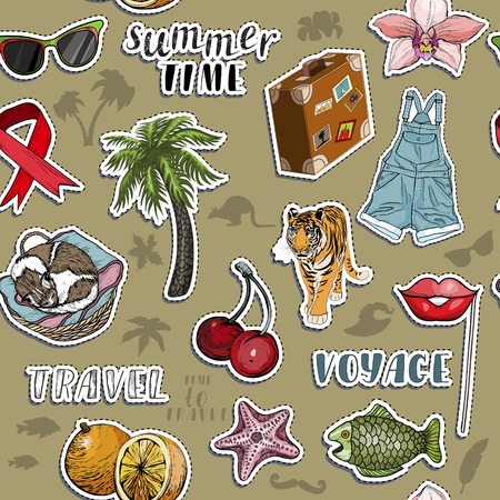 Seamless pattern with exotic sticker set. Summer travel and voyage concept. Vector illustration Illustration