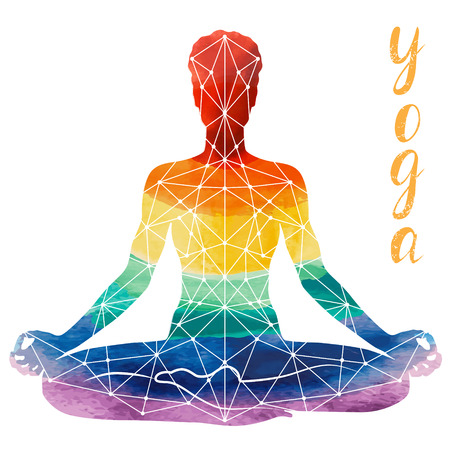 Yoga rainbow Silhouette, relaxation and meditation. Watercolor Silhouette, vector illustration