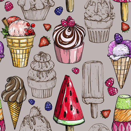 Seamless pattern with colorful ice cream. Tasty dessert vector illustration Ilustrace