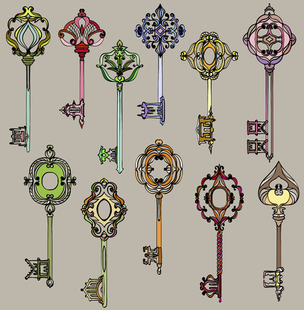 Set of various beautiful and colorful vintage keys. Vector illustration