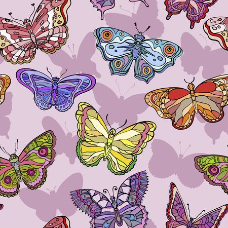 Seamless pattern with colorful and ornate butterflies. Vector illustration