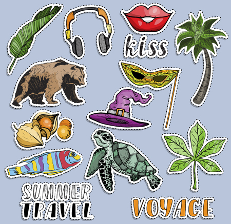 Summer vacation colorful stickers set. Voyage and travel concept. Vector illustration