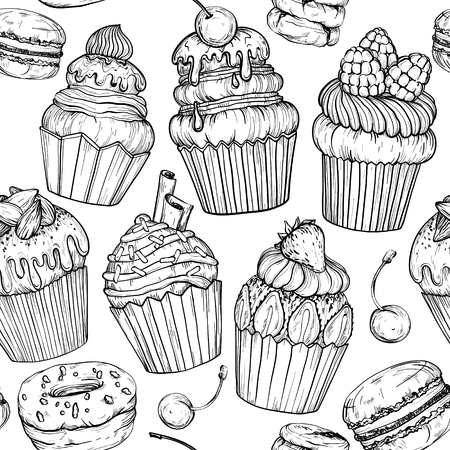 Seamless pattern with Cakes and cupcakes baked chocolate dessert, bakery set, black and white, vector illustration