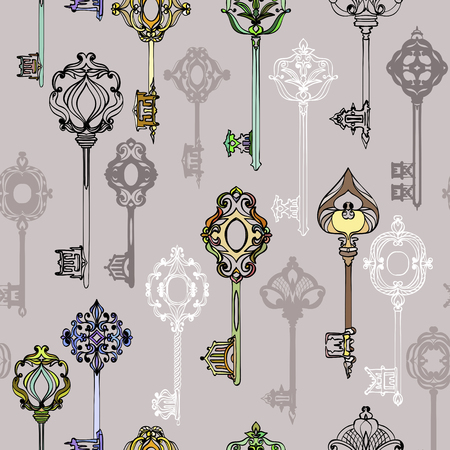 Seamless pattern with various ornate vintage keys. Vector illustration