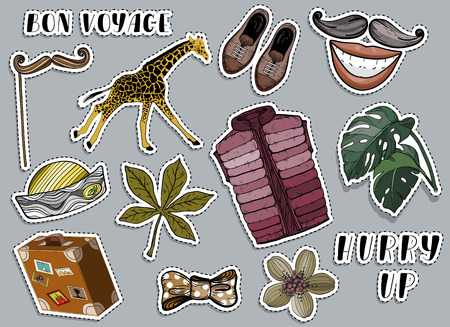 Various colorful stickers set. Voyage and travel concept. Vector illustration Illustration