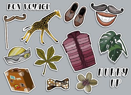Various colorful stickers set. Voyage and travel concept. Vector illustration Illusztráció