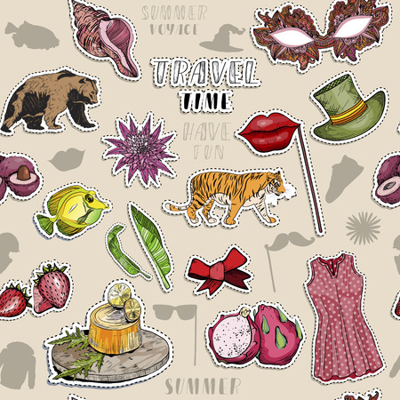 Seamless pattern with various colorful exotic objects. Paradise travel stickers. Vector illustration