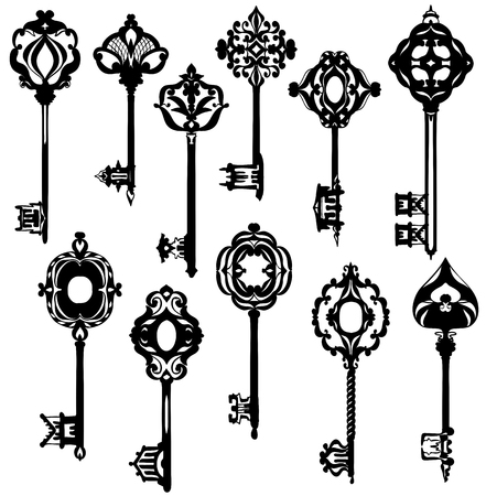 Set of beautiful ornate vintage keys. Black and white. Vector illustration Illustration