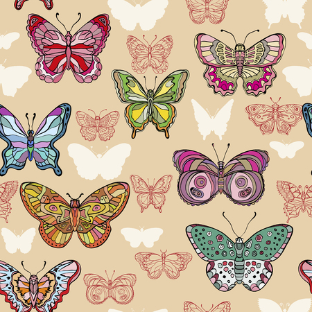 Seamless pattern with colorful and ornate flying butterflies. Vector illustration