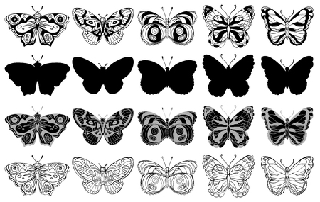 Set of various butterflies forms, silhouettes, ornate icons. Black and white. Vector illustration
