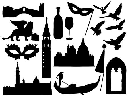 Sketches of Venice silhouettes collection. Vector illustration Illustration