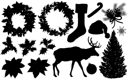 Set of Christmas and New Year silhouette. Vector illustration