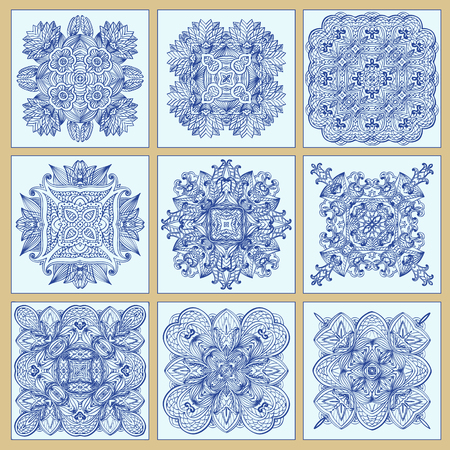 Set of Traditional ornate portuguese decorative tiles azulejos. Abstract backgrounds. Ceramic tiles. Vector illustration Illustration