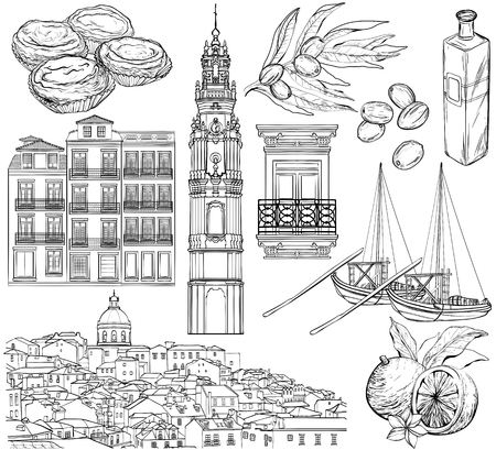 Portugal drawings set. Lisbon and Porto sketch. Vector illustration. Black and white Illusztráció