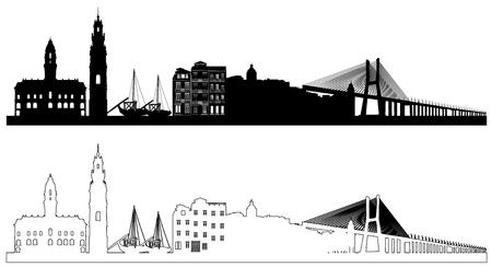 Set of Portugal skyline silhouettes. Black and white. Vector illustration Illustration