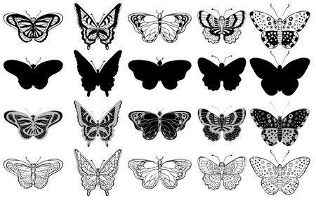 Black and white set of various butterflies forms, silhouettes, ornate icons and sketches. Vector illustration Stock Illustratie