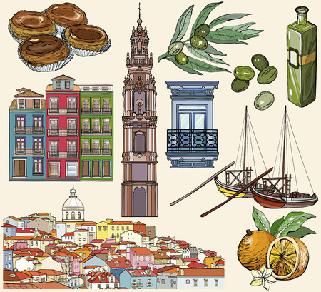 Portugal icon set. Lisbon and Porto drawings. Vector illustration