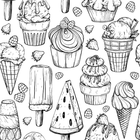 Seamless pattern with ice cream and berries. Tasty dessert, vector illustration. Black and white sketch