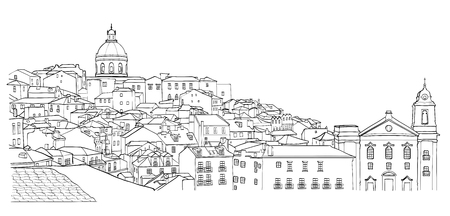 Sketch of Lisbon cityscape view. Black and white vector illustration